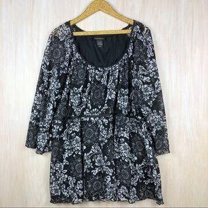 Lane Bryant Black & White Overlay Floral Shirt